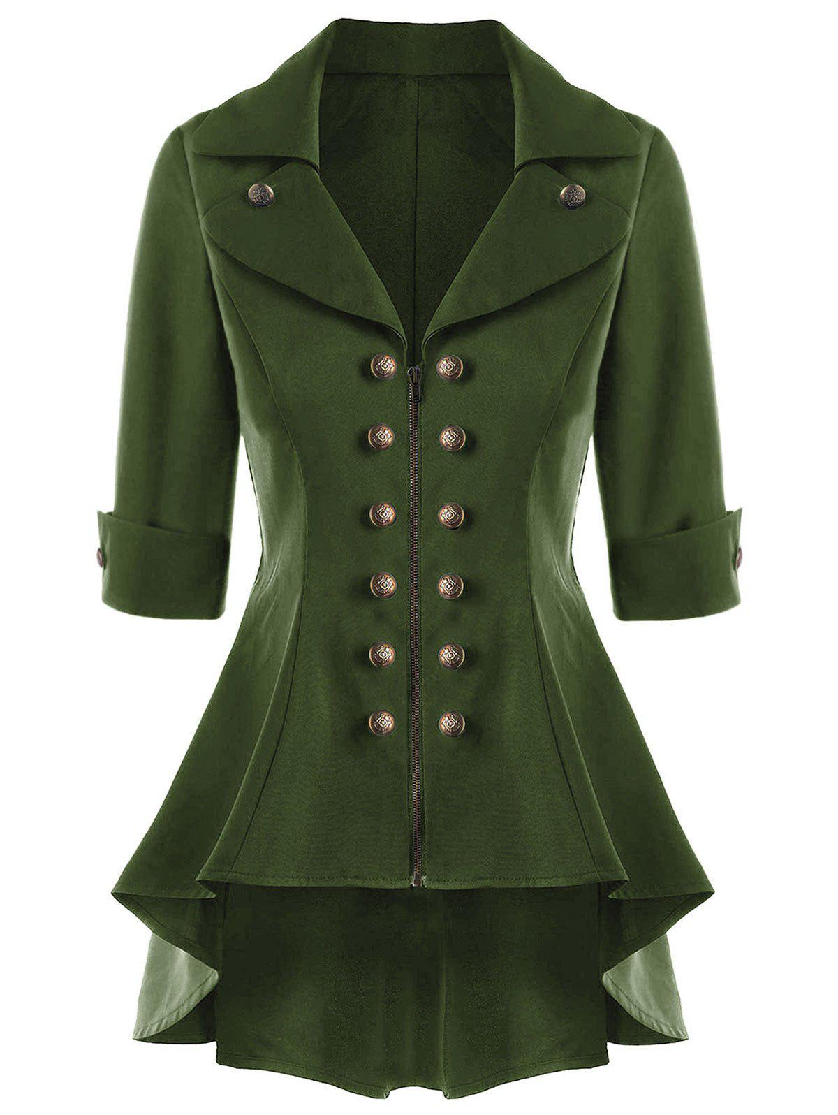 Double Breasted Short Flare Trench Coat - ARMY GREEN L