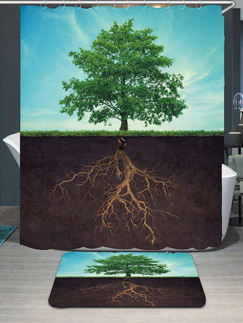 Life Tree Waterproof Shower Curtain and Area Rug - COLORMIX W59 INCH * L71 INCH