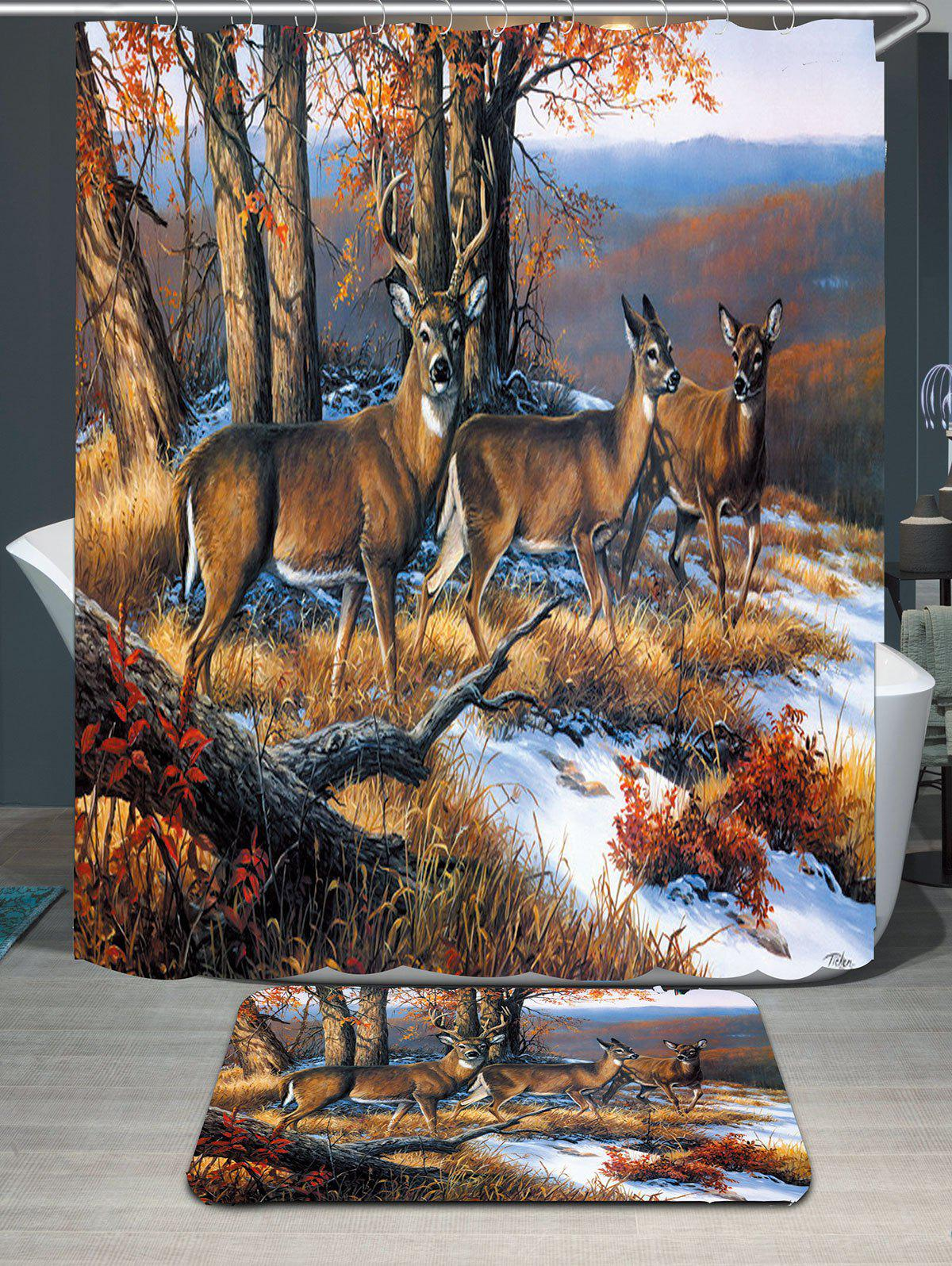 Snowfield Deer Printed Waterproof Shower Curtain and Mat waterproof functions blackboard printed shower curtain