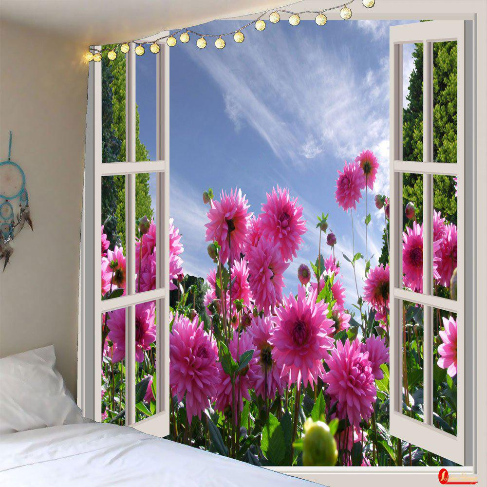 Waterproof 3D Faux Window Floral Printed Wall Tapestry - COLORFUL W79 INCH * L79 INCH