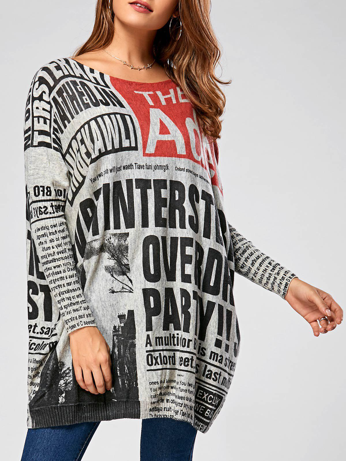 Pullover Letters Newspaper Ribbed Drop Shoulder Sweater
