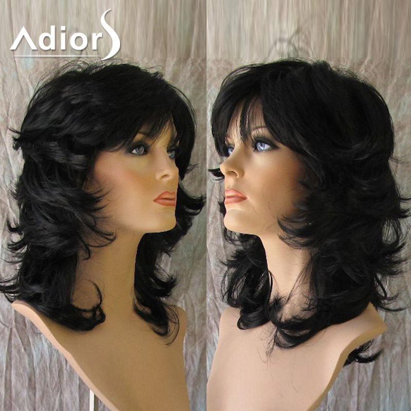 Adiors Medium Inclined Bang Fluffy Anti-Alice Straight Synthetic Wig short pixie cut capless straight inclined bang synthetic wig