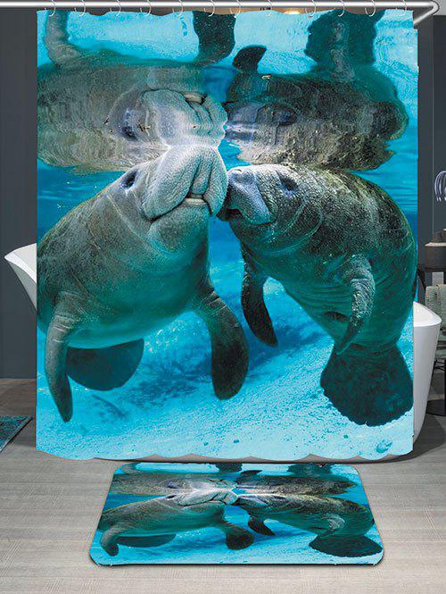 Manatee Printed Waterproof Shower Curtain and Mat waterproof functions blackboard printed shower curtain