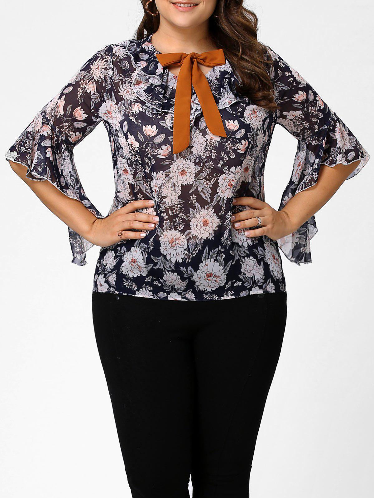 Plus Size Floral Chiffon Ruffle Pussy Bow Top plus size lipstick printed pussy bow chiffon shirt dress