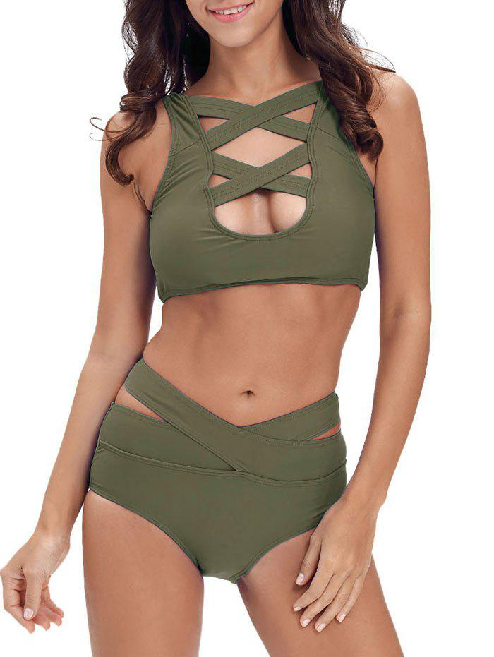 Criss Cross Cropped Bandage Bikini Set - ARMY GREEN M