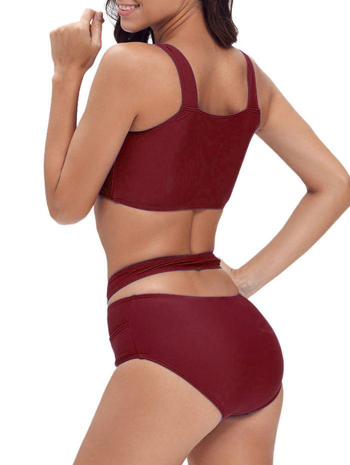 Ensemble de bikini à bande croisée Criss Cross - Rouge vineux XL