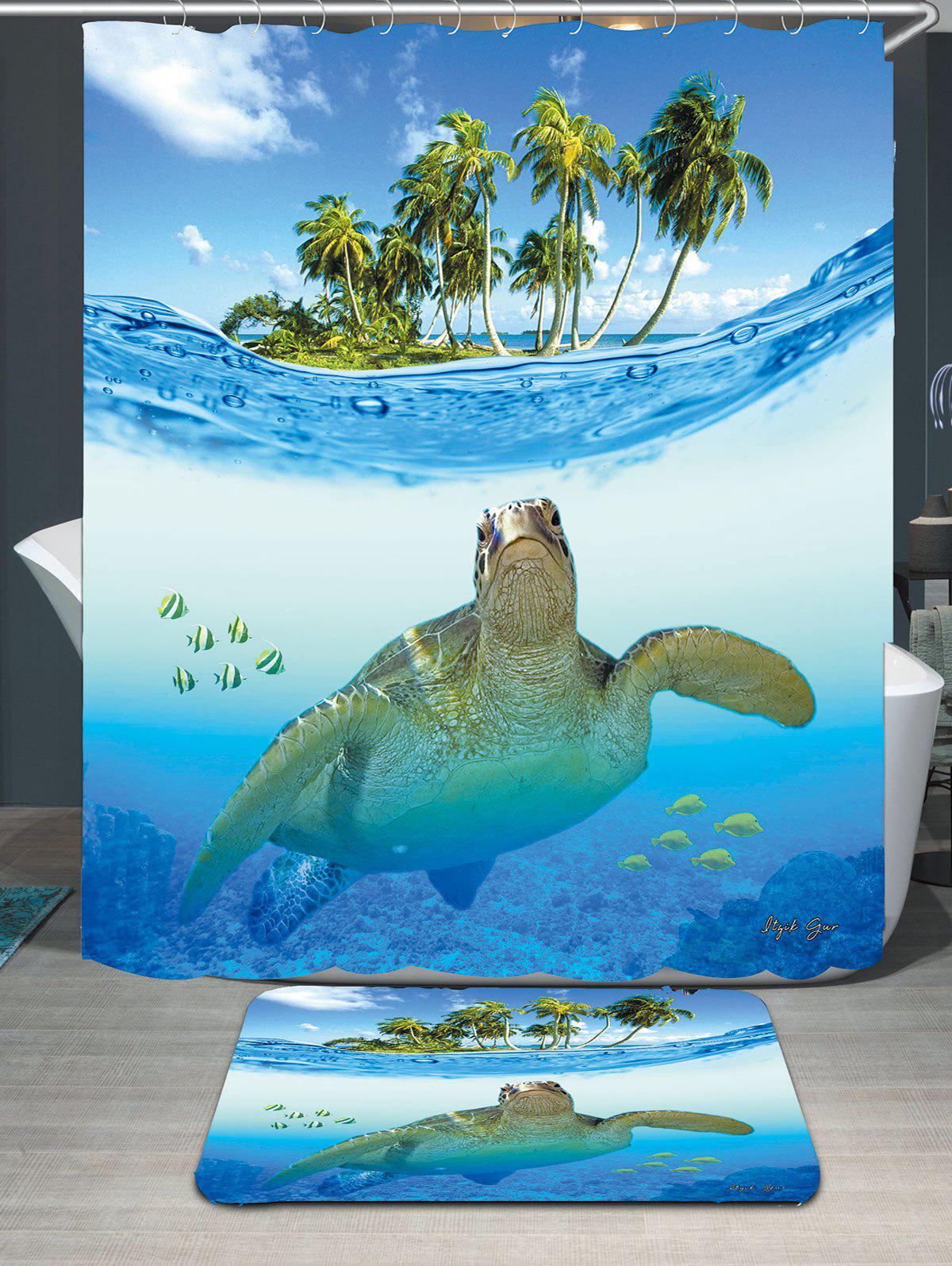 Waterproof Sea Turtle Shower Curtain Carpet Set   BLUE W79 INCH * L71 INCH  ...