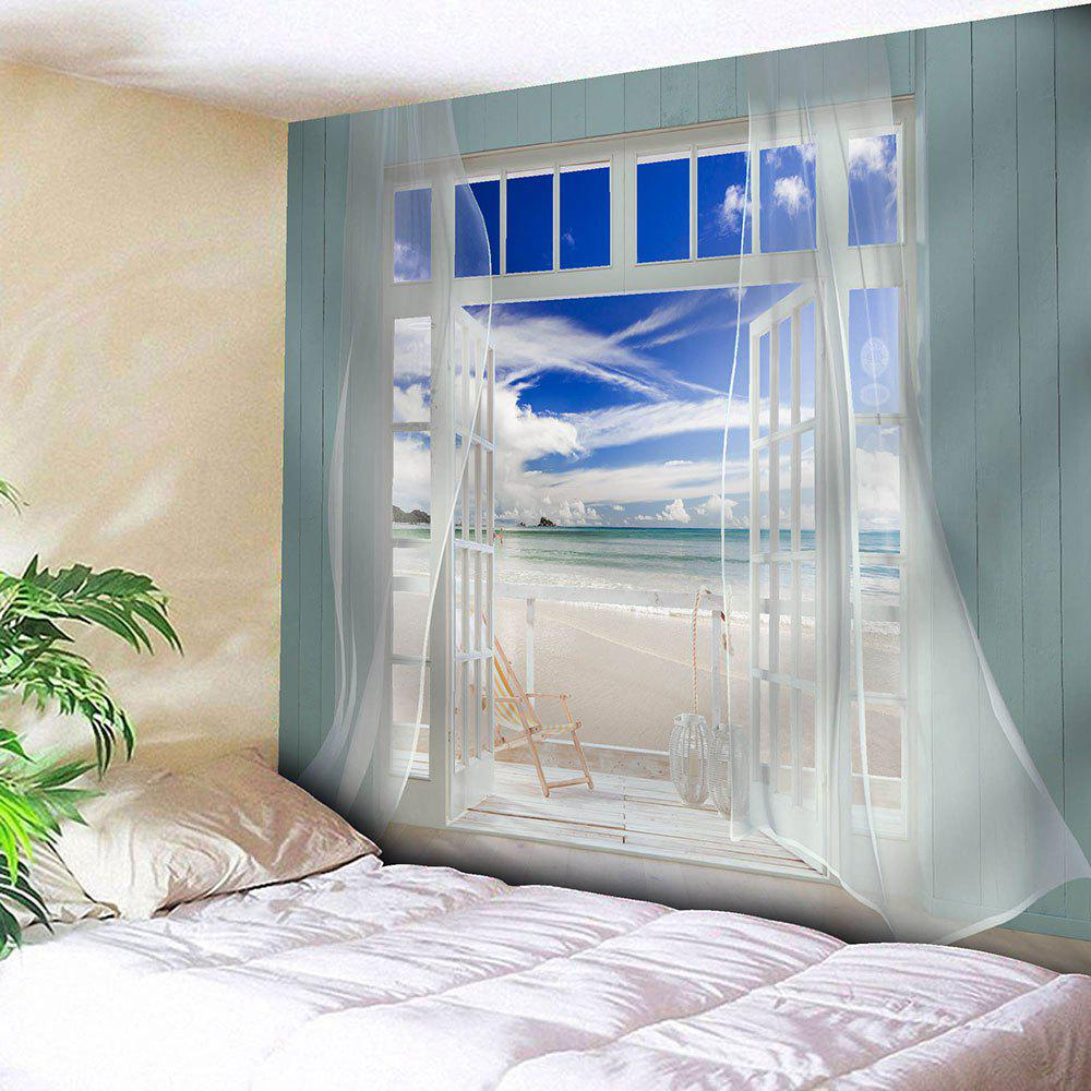 Virtual Window Seascape Printed Waterproof Wall Tapestry - COLORMIX W79 INCH * L71 INCH