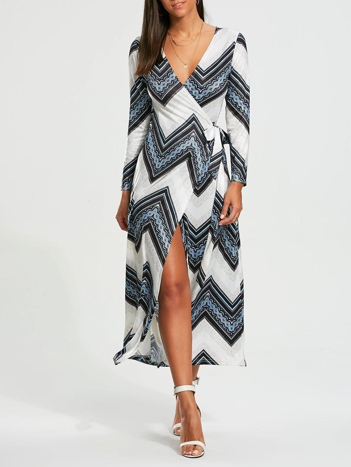 Chevron Print Long Sleeve Maxi Wrap Dress - [