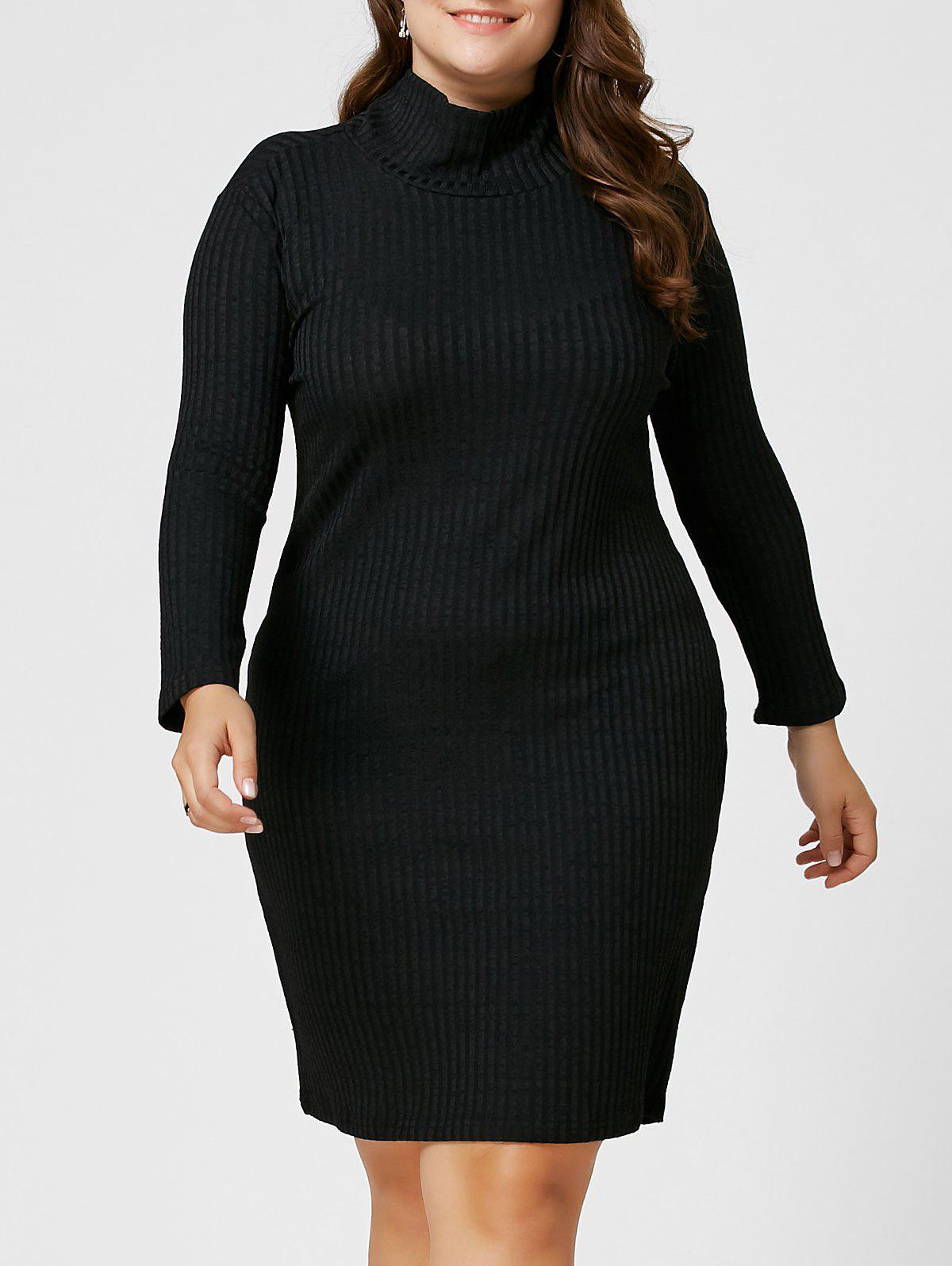 Plus Size Ribbed Sheath Turtleneck Sweater Dress elegant a line round button midi skirt for women