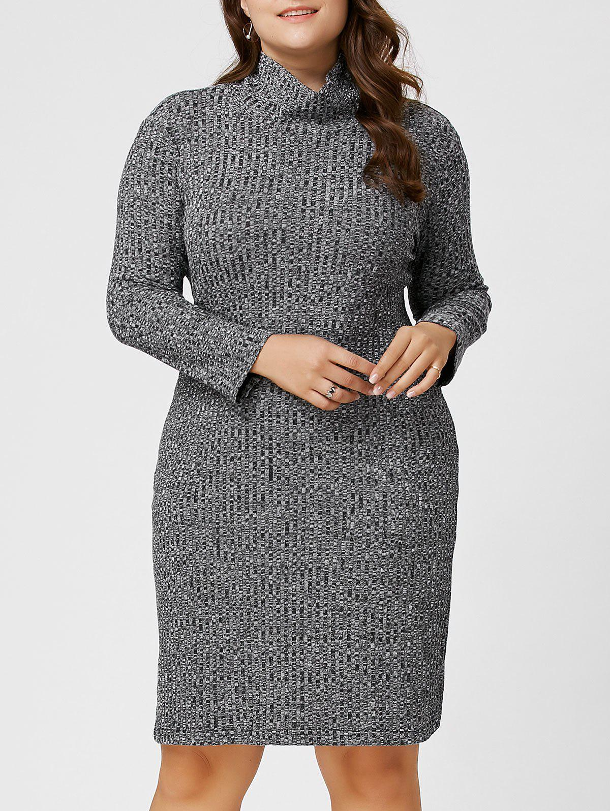 Plus Size Ribbed Sheath Turtleneck Sweater Dress 221902802
