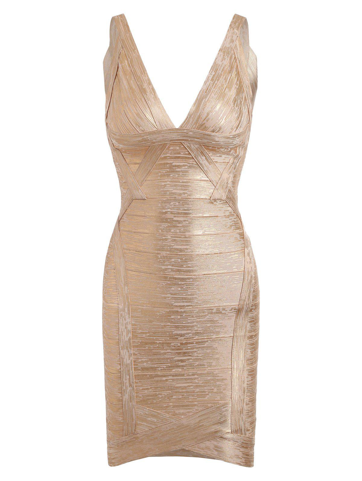 V Neck Bronzing Club Bandage Dress - GOLDEN S