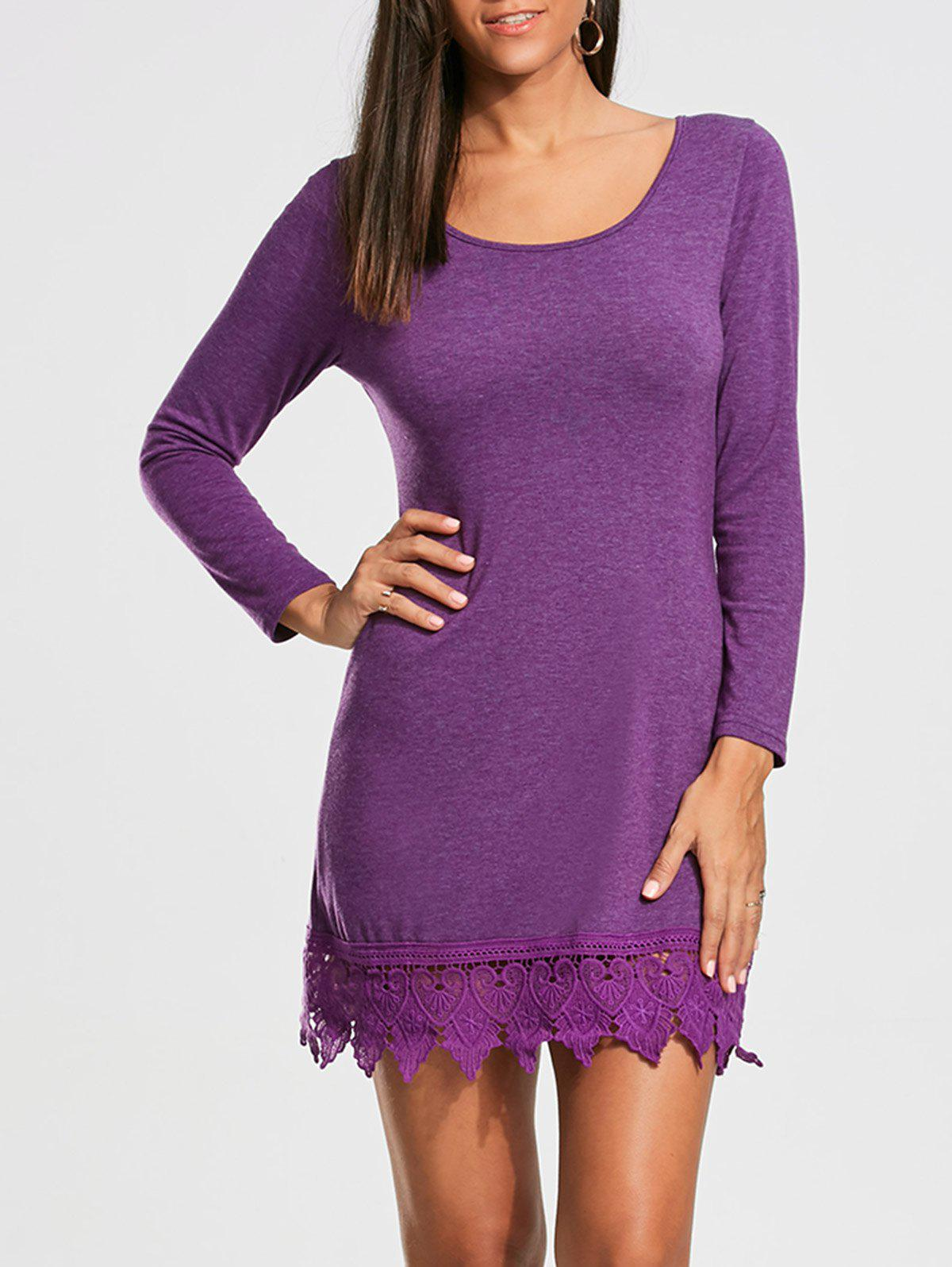 Lace Trim Long Sleeve T-shirt Mini Dress - PURPLE 2XL