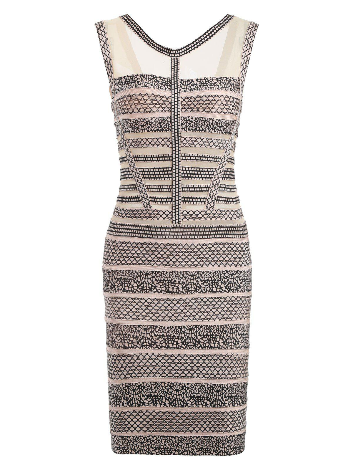 Mesh Insert Sleeveless Print Bandage Dress - BEIGE L