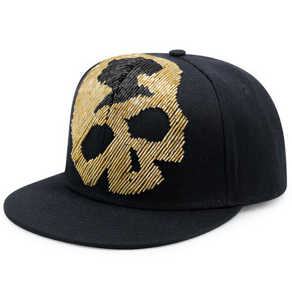 Bead Tube Skull Flat Brim Baseball Hat - GOLDEN