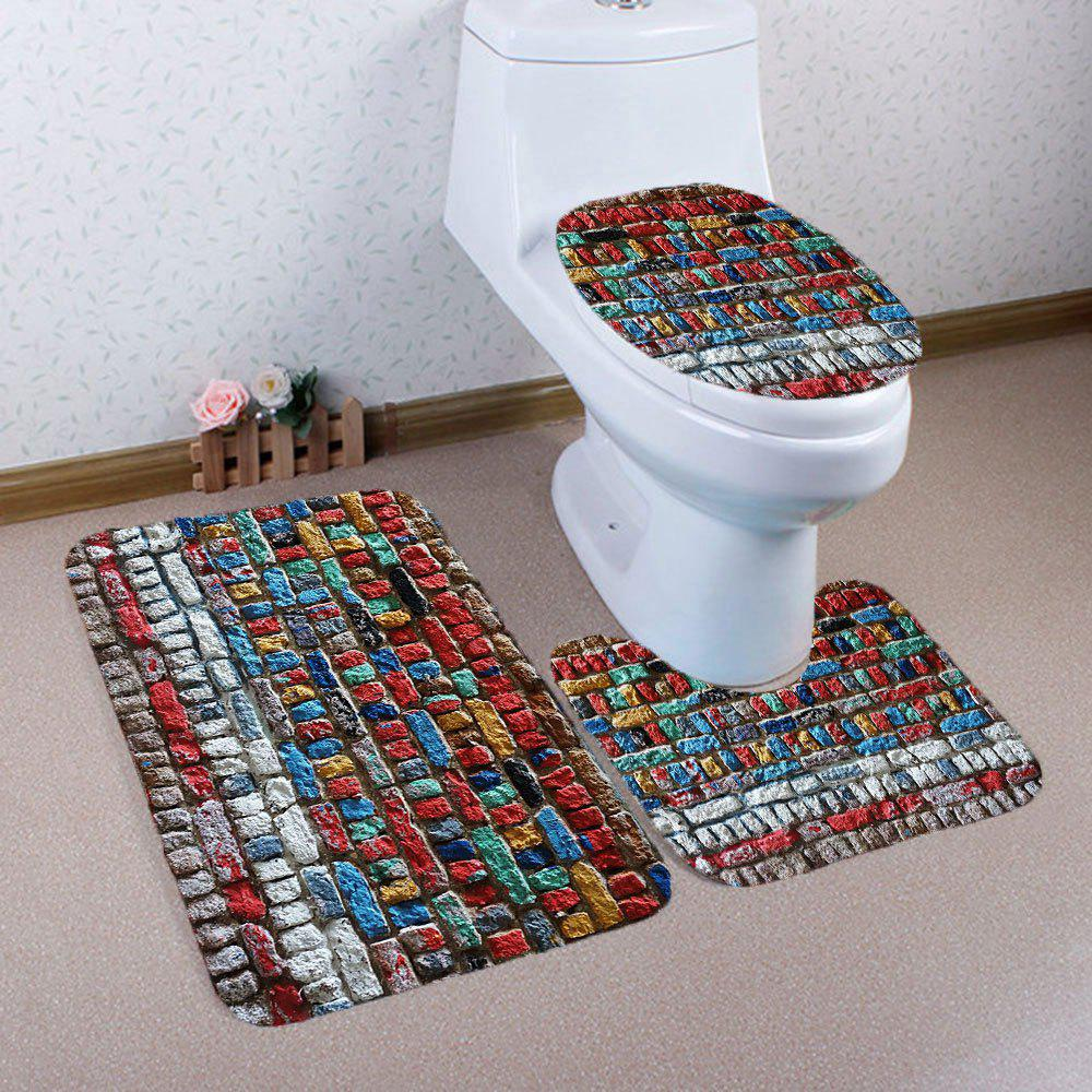 3Pcs Retro Colorful Tile Printed Bathroom Mats Set - COLORFUL