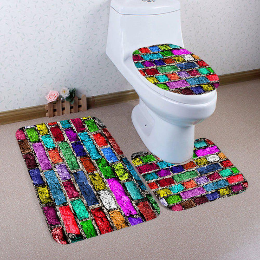 Nonslip Colorful Brick Wall Imprimé 3Pcs Tapis de toilette - coloré