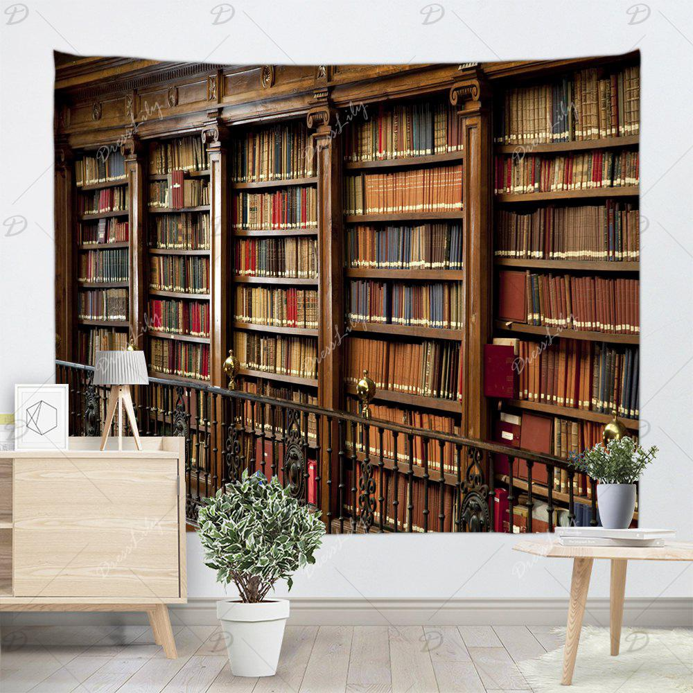 Retro Bookrack Print Wall Art Tapestry - BROWN W91 INCH * L71 INCH