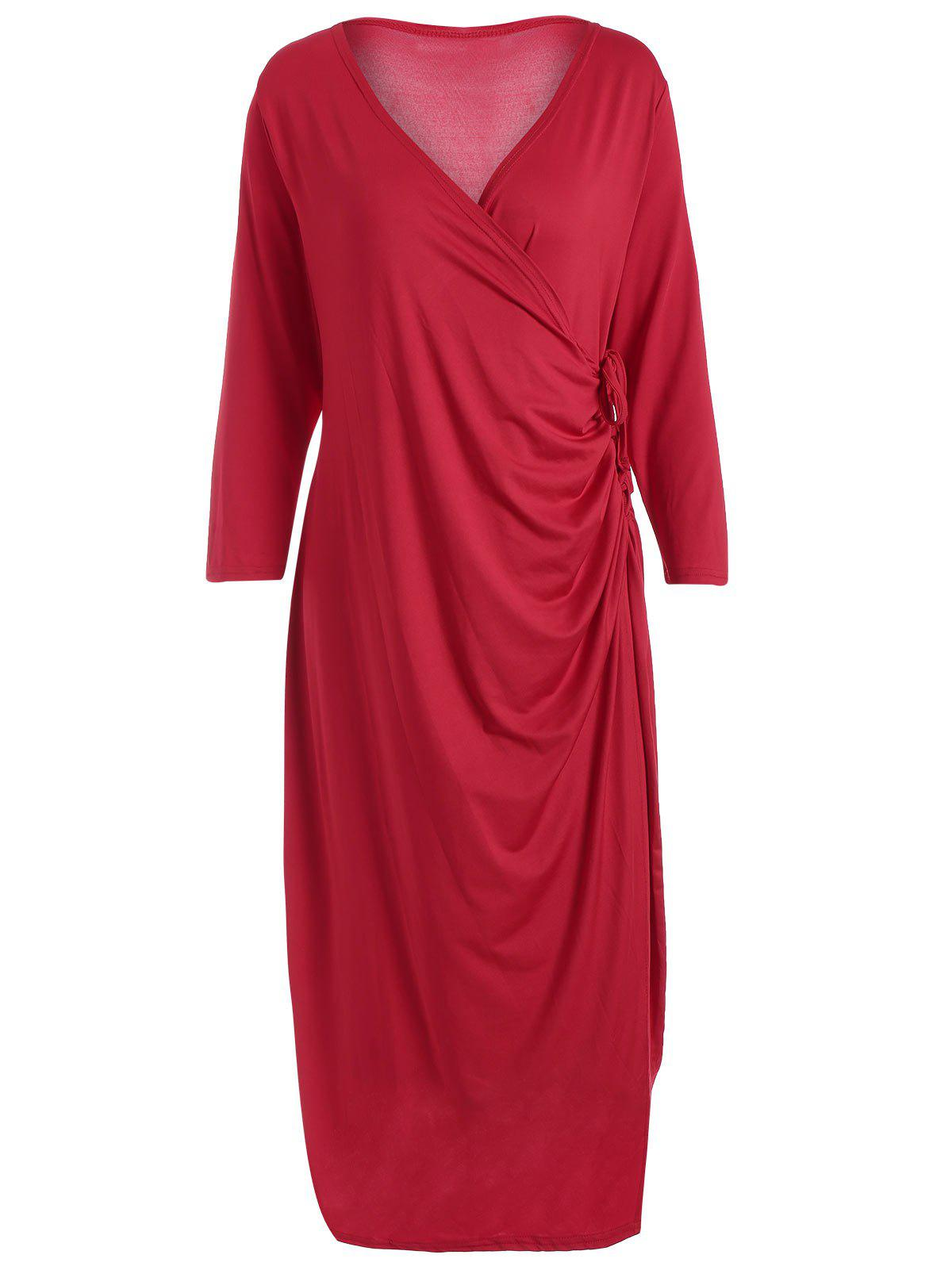 Robe fini au genou taille grand - Rouge 3XL