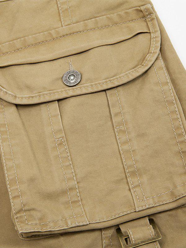 Zipper Fly String Pocket Cargo Pants - Vert Armée 38