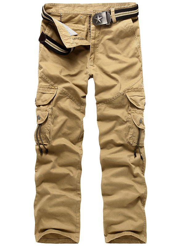 Zipper Fly String Pocket Cargo Pants - KHAKI 38