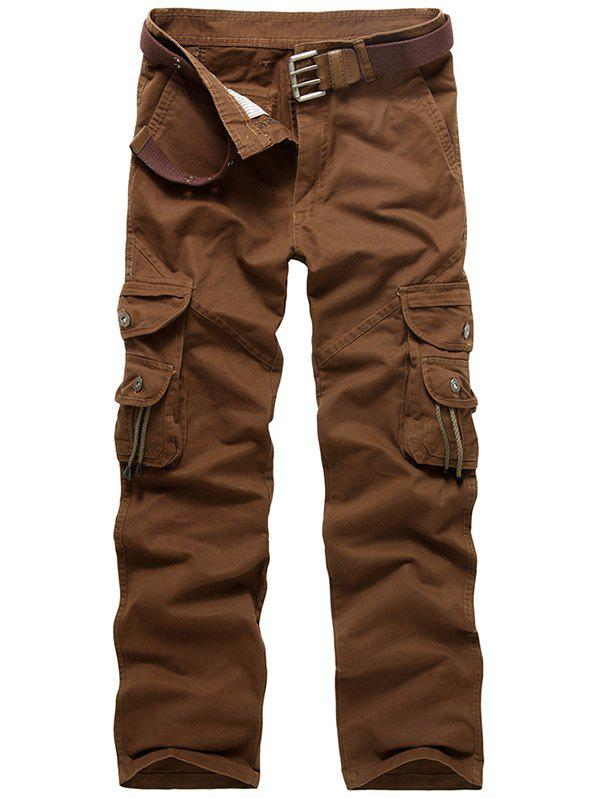 Zipper Fly String Pocket Cargo Pants - café 34