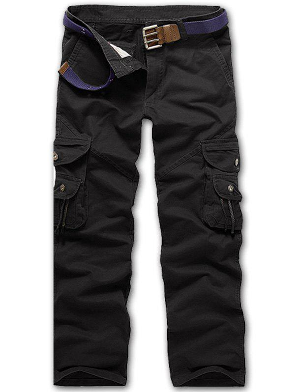 Zipper Fly String Pocket Cargo Pants - BLACK 36