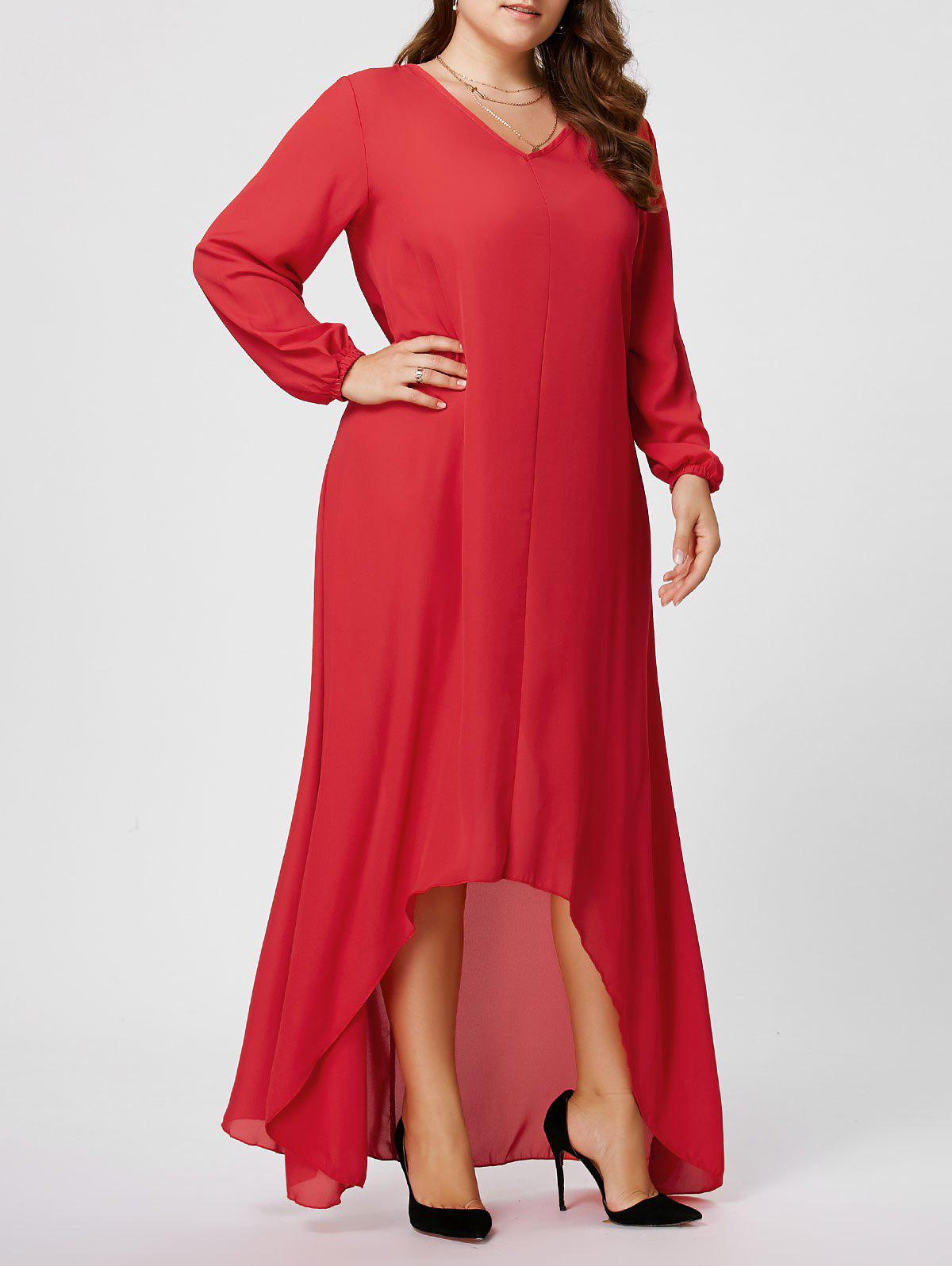 Plus Size High Low Maxi Chiffon Flowy Dress with Sleeves - RED 3XL