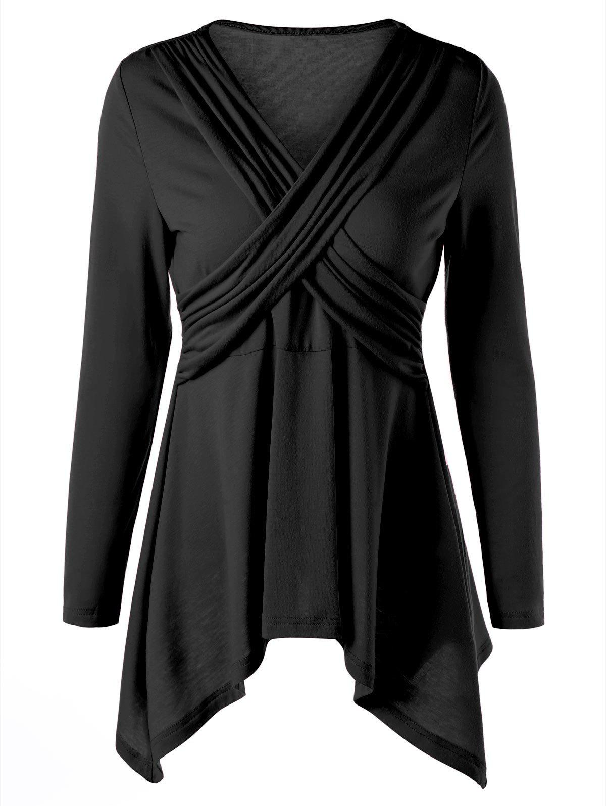 Criss Cross Long Sleeve Peplum Top - BLACK 2XL