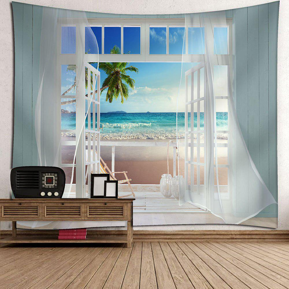 Balcony Beach Seascape Waterproof Wall Tapestry - BLUE W79 INCH * L71 INCH