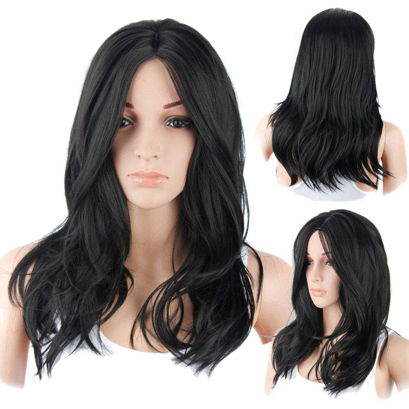 Long Layered Middle Part Natural Straight Synthetic Wig - BLACK