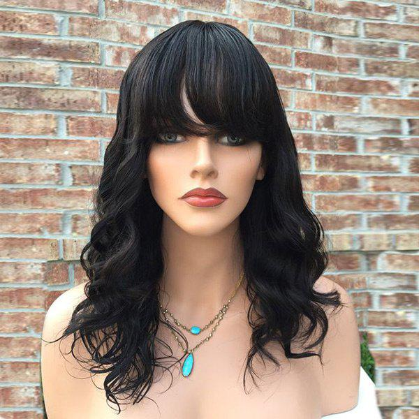 Long Oblique Bang Wavy Human Hair Wig long oblique bang wavy human hair wig