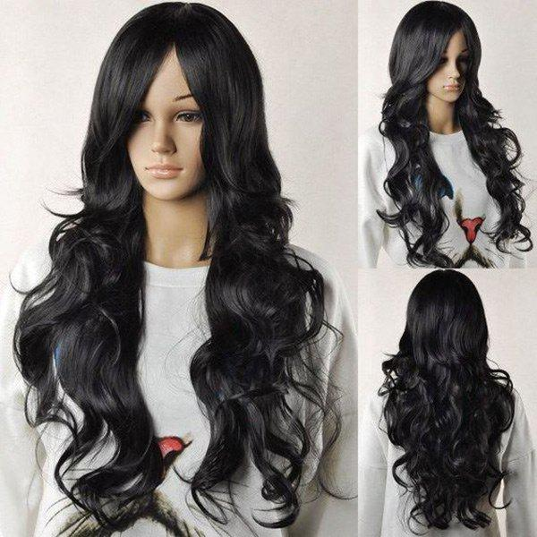Long Middle Parting Layered Fluffy Wavy Synthetic Wig - BLACK