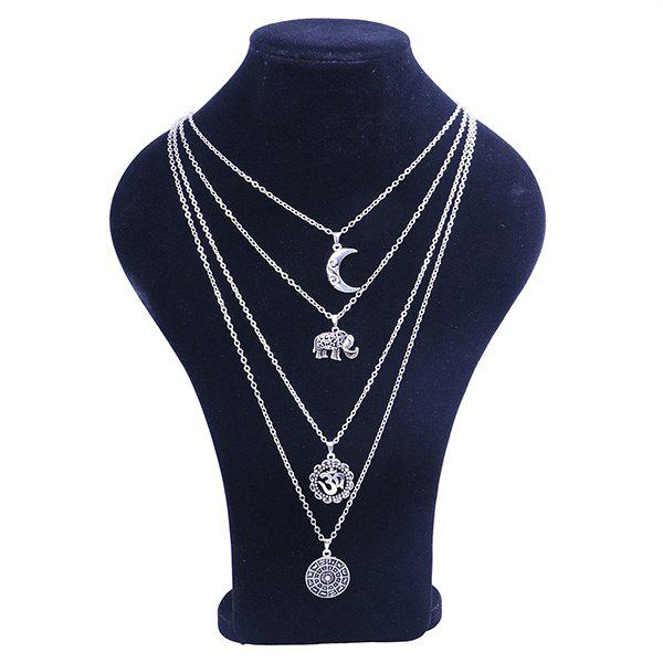 Alloy Gypsy Elephant Moon Layered Necklace - SILVER