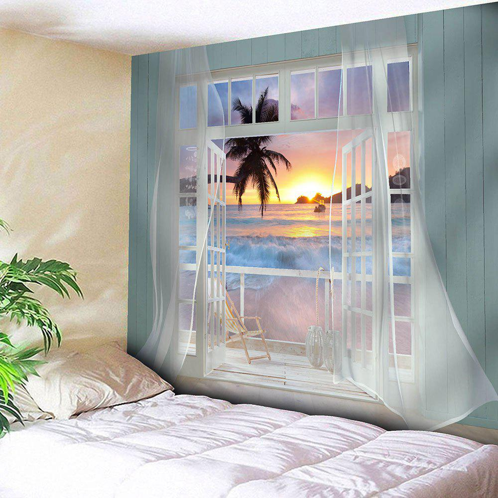 Waterproof Balcony Sunset Beach Hanging Tapestry - BLUE W79 INCH * L71 INCH