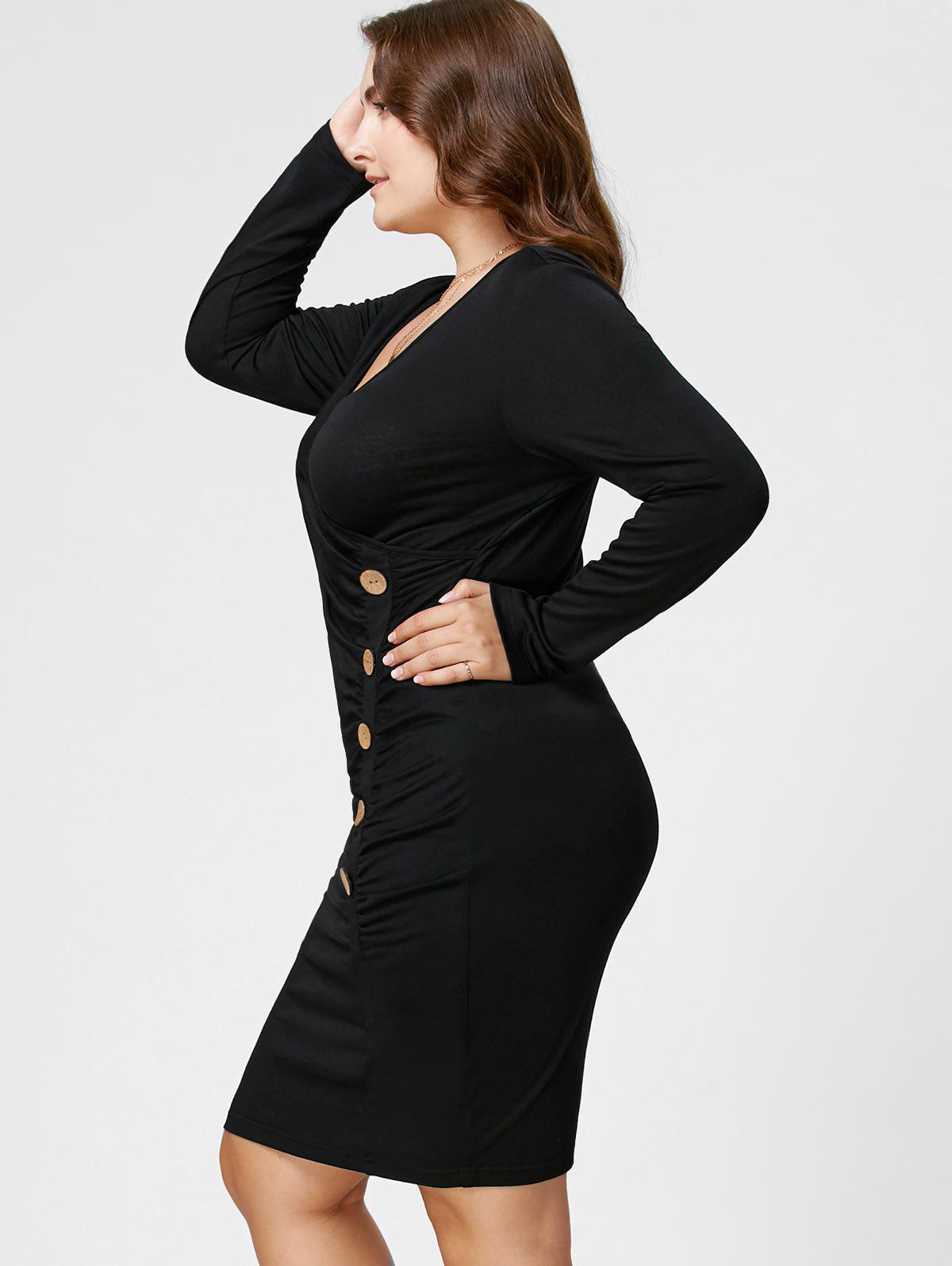 Plus Size Button Detail Ruched Sheath Dress - Noir XL