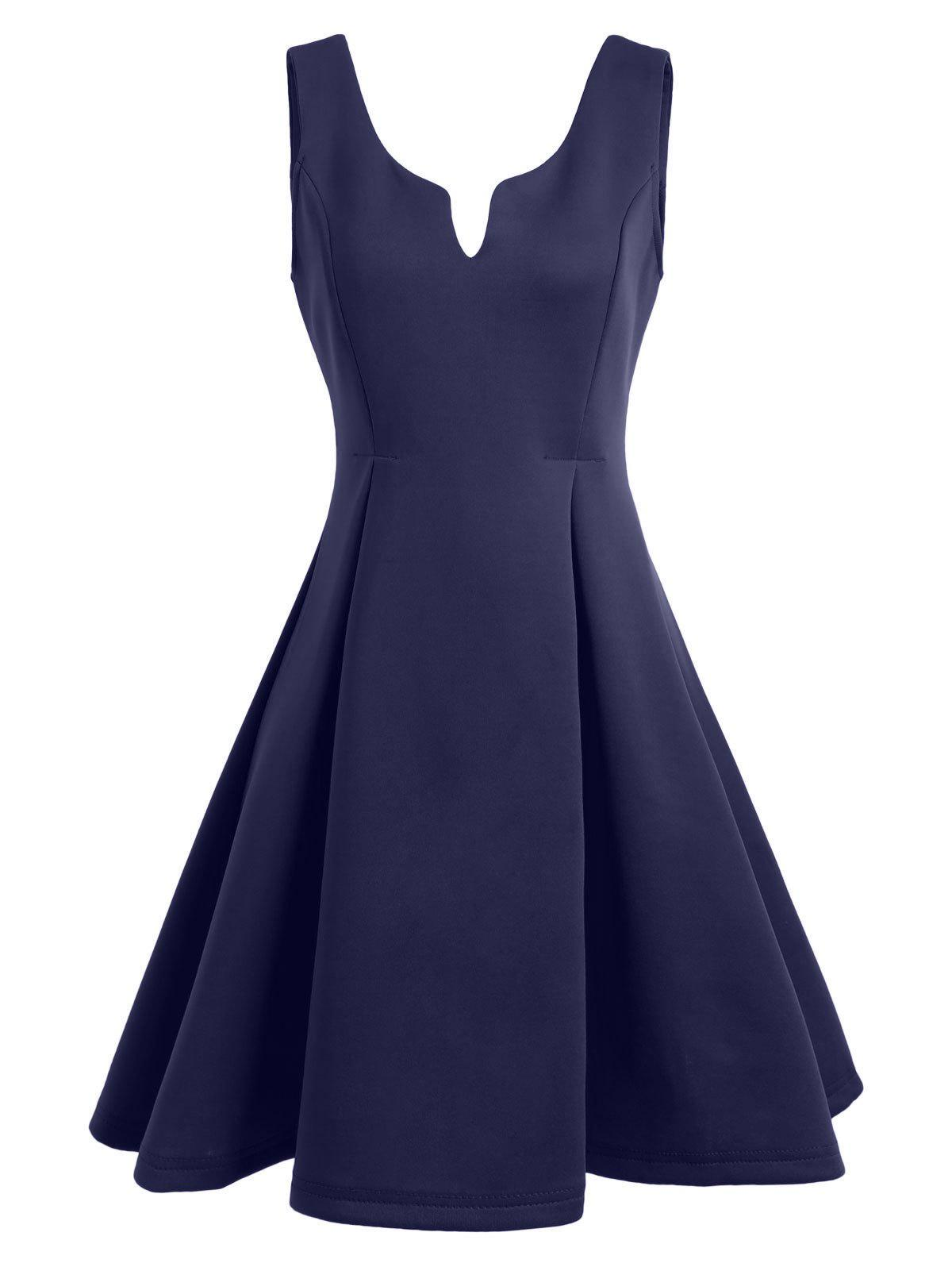 Open Back Sleeveless A Line Dress - PURPLISH BLUE M