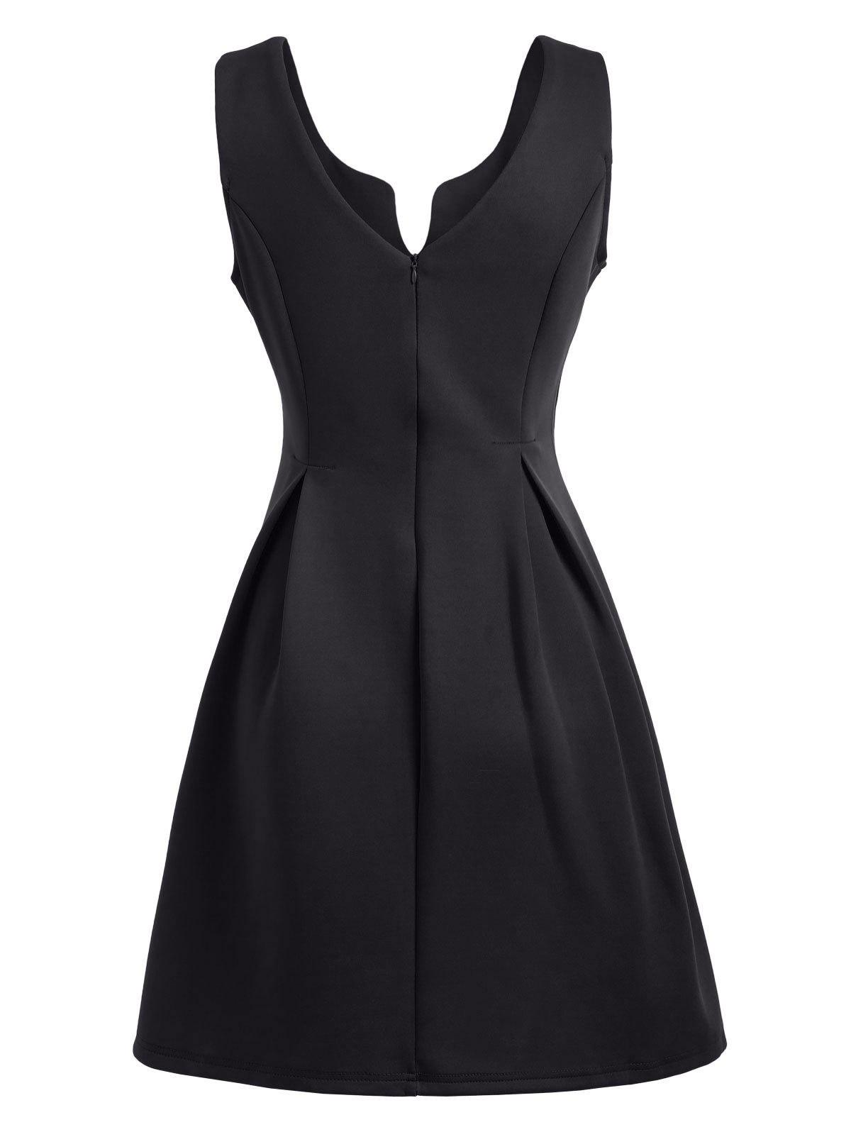 Open Back Sleeveless A Line Dress - BLACK L