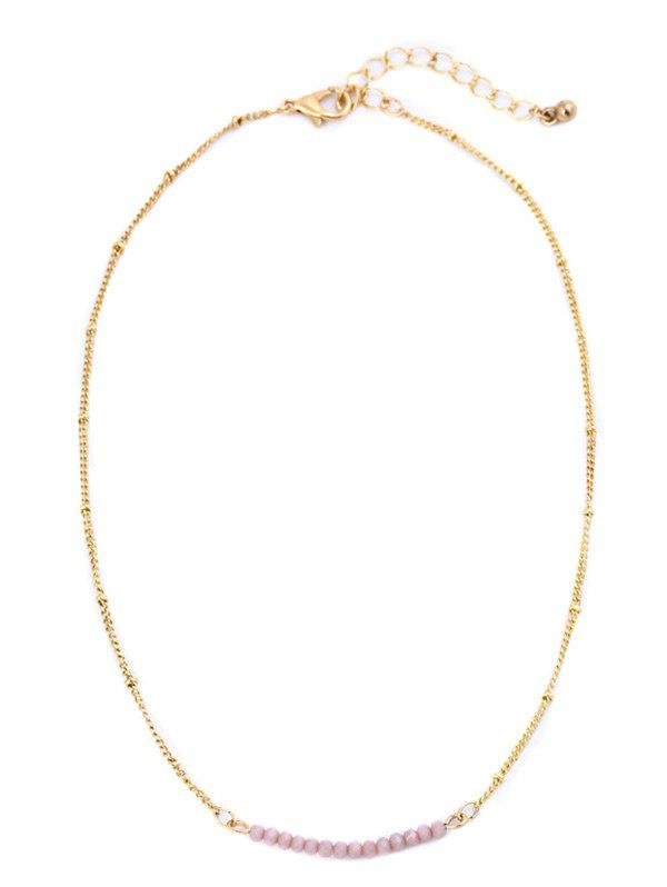 Collarbone Beaded Chain Necklace - PINK