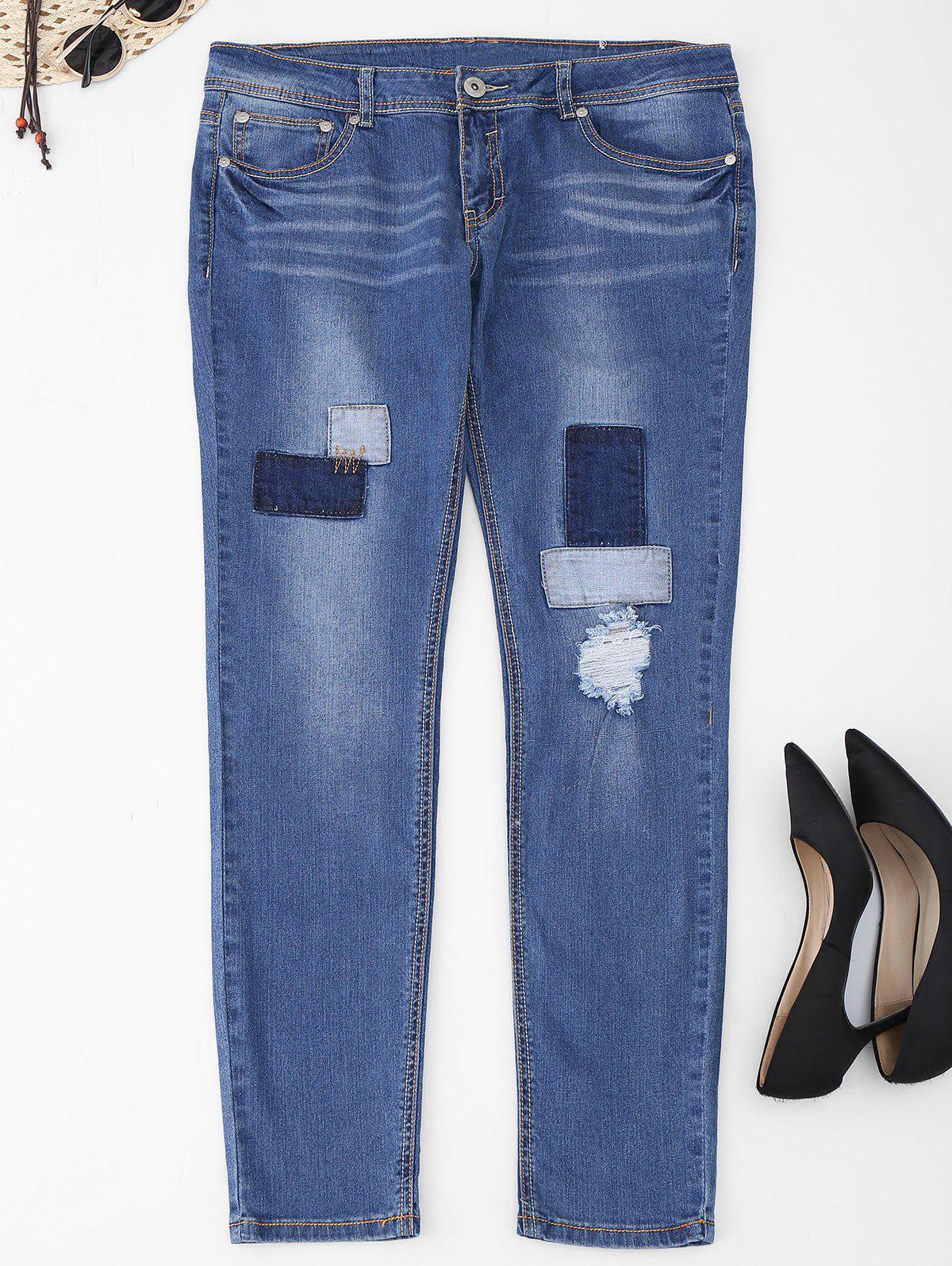 Plus Size Frayed Patch Jeans - DENIM BLUE 2XL
