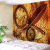 Explorer Retro Map Print Tapestry Wall Hanging Art - Brun W71 INCH * L91 INCH