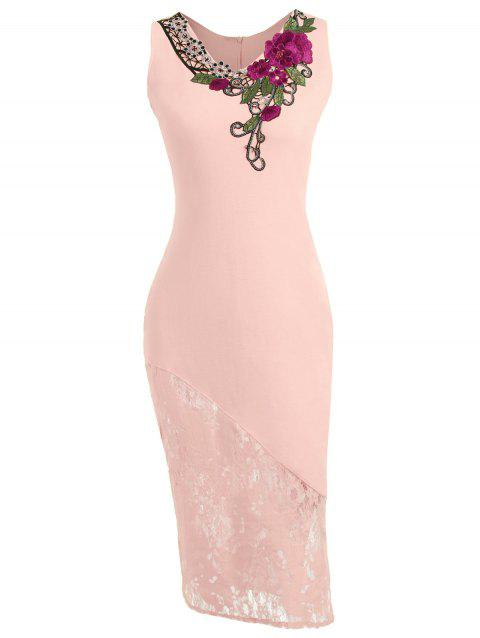Embroidered Lace Insert Midi Bodycon Dress - LIGHT PINK S