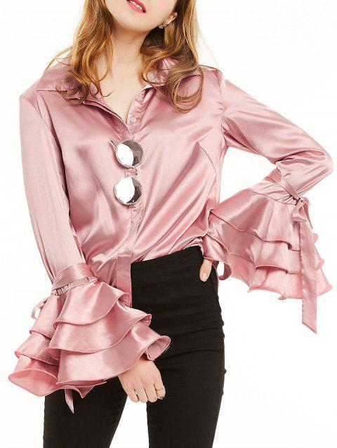 Long Sleeve Satin Shirt with Layered Ruffles - LIGHT PINK S