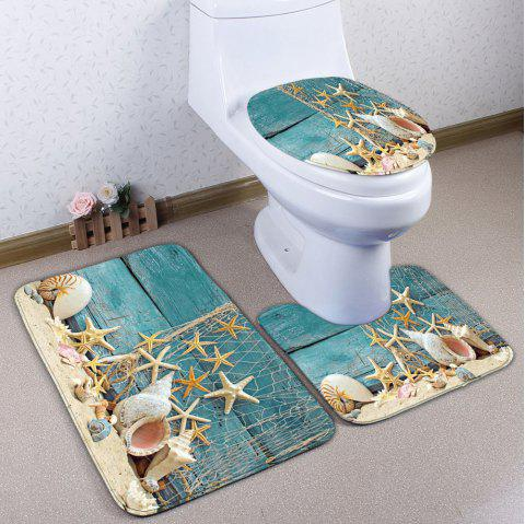 Plank Starfish Print 3Pcs / Set Flannel Bath Mats - Turquoise