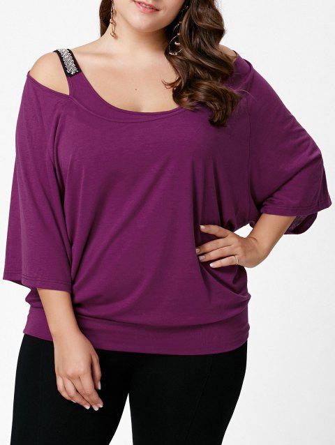 7cdb3fd14bbcb6 17% OFF  2019 Plus Size Cold Shoulder Batwing Sleeve Top In VIOLET ...