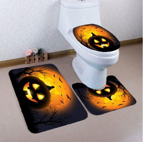 3Pcs Halloween Pumpkin Withered Tree Printed Bathroom Mats Set - BLACK/ORANGE