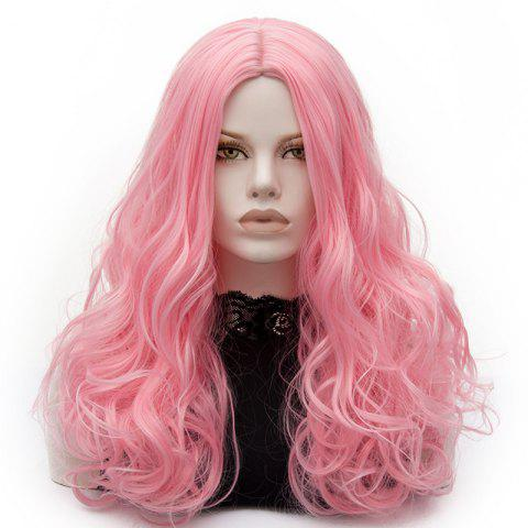 Long Middle Part Fluffy Layered Wavy Cosplay Lolita Wig - PINK