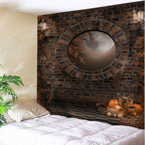 Halloween Brick Wall Print Tapestry Wall Hanging Art - BROWN W59 INCH * L51 INCH