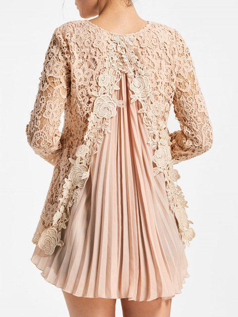 Long Sleeve Pleated High Low Lace Blouse - PINK 2XL