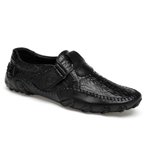 Alligator Embossed Stitched Casual Shoes - BLACK 41
